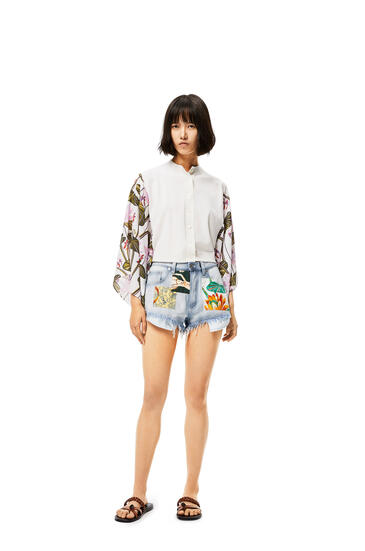 LOEWE Patched shorts in denim Light Blue/Multicolor pdp_rd