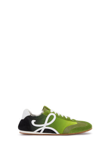 LOEWE Ballet runner in split calfskin and polyester Green/Multicolor pdp_rd