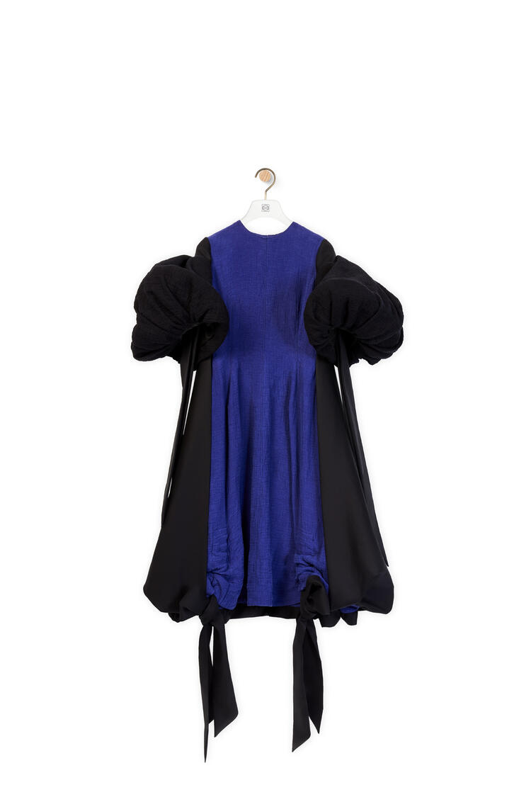 LOEWE Bow sleeve dress in linen and cotton Blue/Black pdp_rd