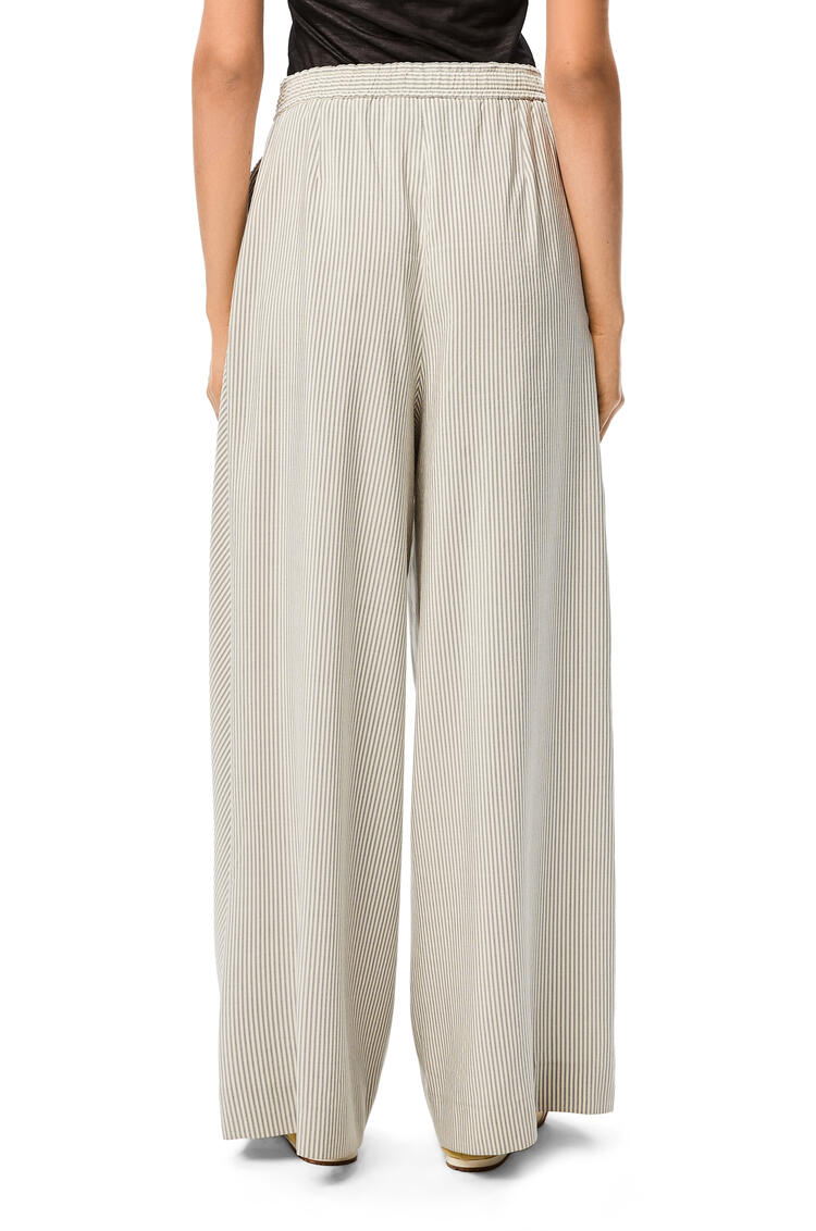 LOEWE Drawstring fluid trousers in striped silk White/Blue pdp_rd
