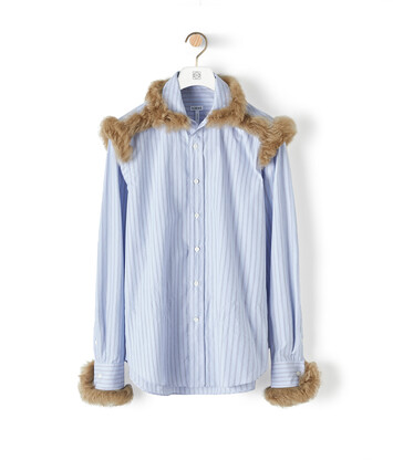 LOEWE Shearling Trim Stripe Shirt Light Blue front
