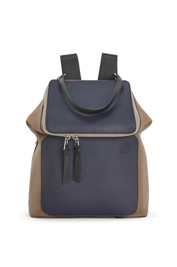 LOEWE Goya backpack in soft grained calfskin Deep Blue/Dark Taupe pdp_rd