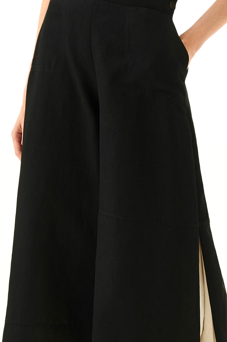 LOEWE Culotte Trousers In Linen Black/White pdp_rd