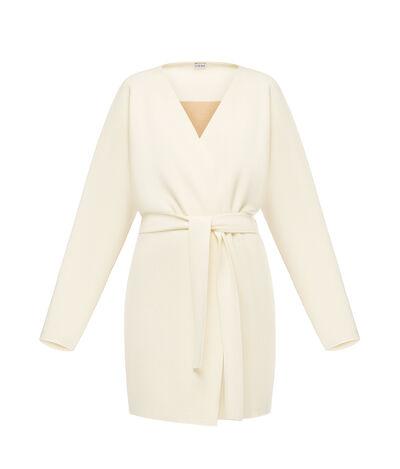 LOEWE Belted Knit Coat Ecru front