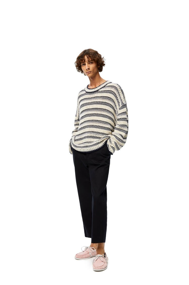 LOEWE Knit Mesh Sweater In Striped Cotton Ecru/Navy Blue pdp_rd