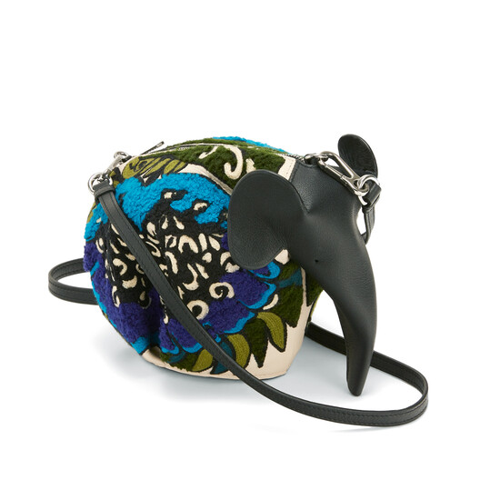 LOEWE Bolso Elefante Floral Azul Pavo Real front