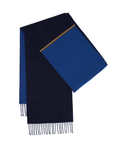 LOEWE 30X180 窗格图案围巾 Blue/Dark Blue front