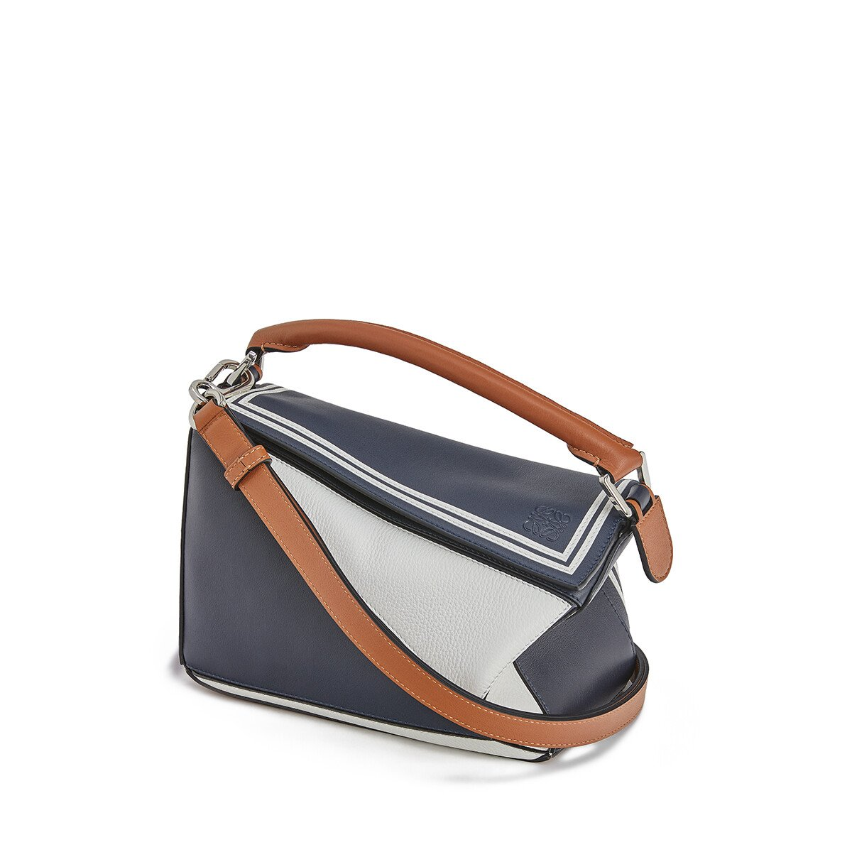 LOEWE Puzzle Sailor Small Bag Deep Blue/Soft White front