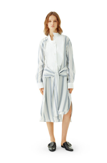 LOEWE Stripe Silk Shirtdress Navy/White front