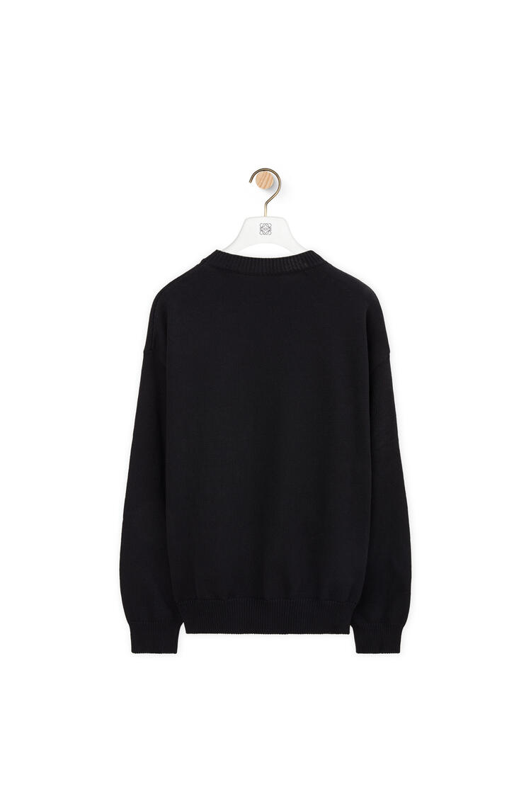 LOEWE Anagram embroidered sweater in cotton Black/Navy Blue pdp_rd