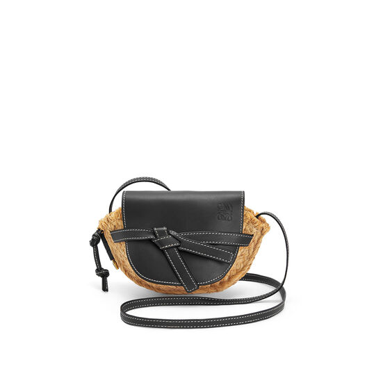 LOEWE Mini Gate Bag Black/Natural front
