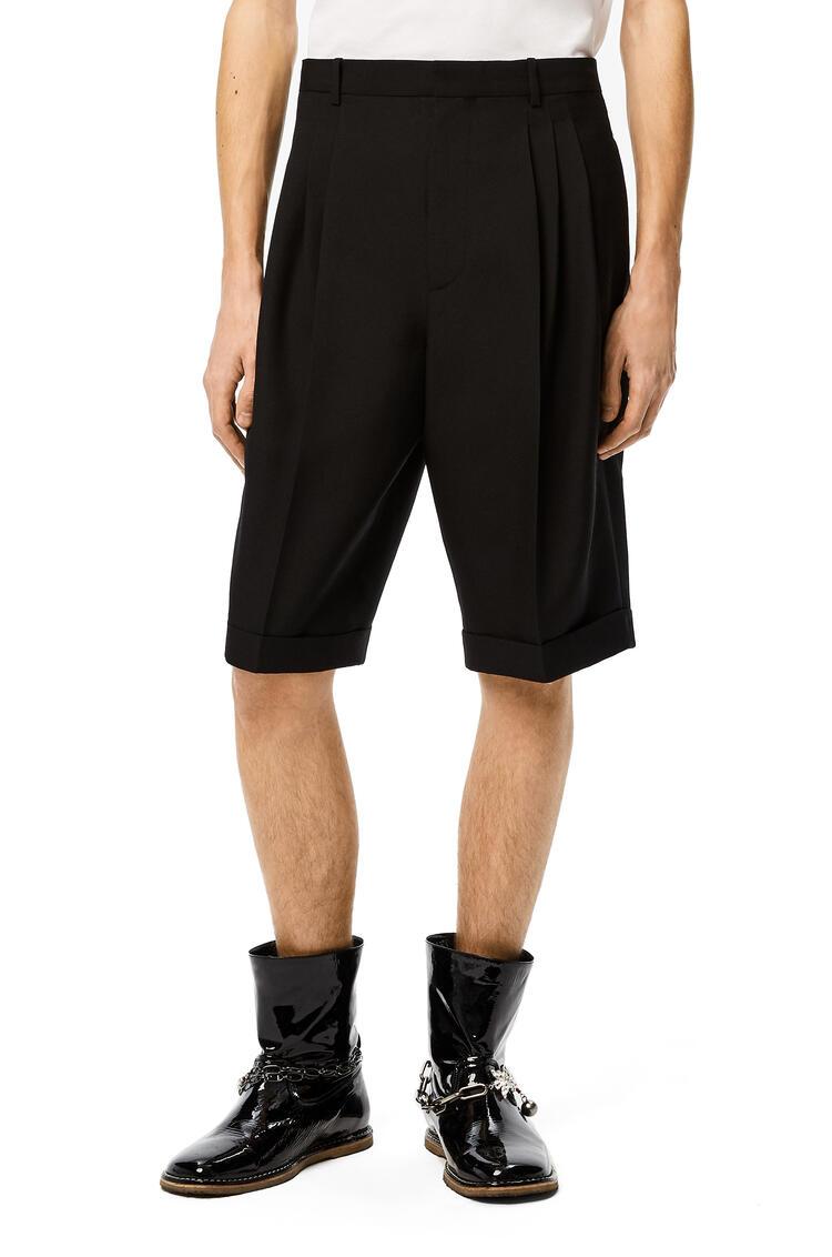 LOEWE Pleated shorts in wool Black pdp_rd