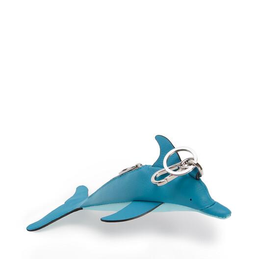 LOEWE Dolphin Charm In Classic Calfskin Dark Peacock Blue/Aqua front