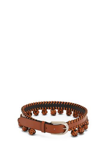 LOEWE Knot Belt In Calfskin Tan/Palladium pdp_rd