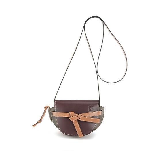 LOEWE Gate Mini Bag Oxblood/Taupe front
