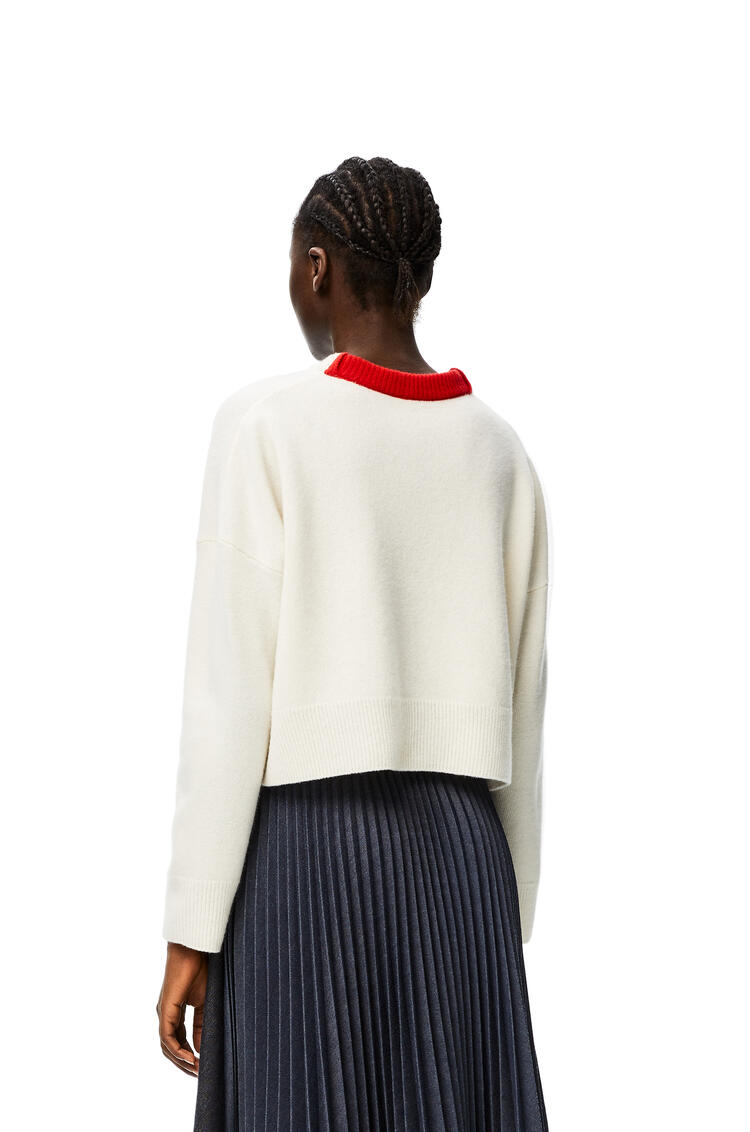 LOEWE Anagram embroidered cropped sweater in wool Off-white pdp_rd