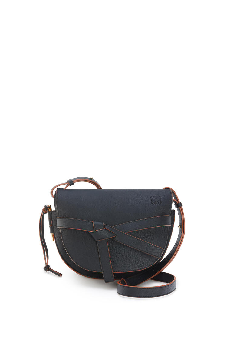 LOEWE Small Gate bag in pebble grain calfskin Black pdp_rd
