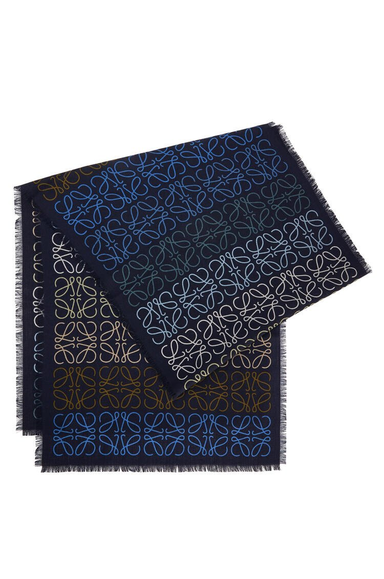 LOEWE 45 x 200 cm LOEWE anagram scarf in wool and cashmere Blue/Multicolor pdp_rd