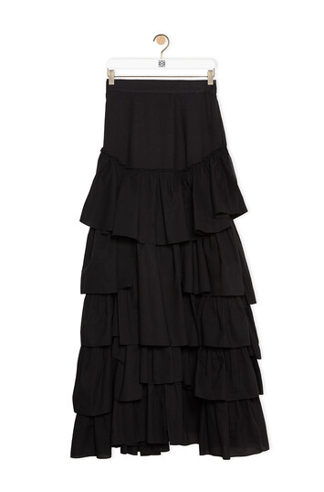 LOEWE Ruffle Skirt In Cotton Black front