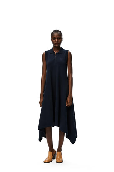 LOEWE Anagram embroidered polo collar midi dress in cotton Navy Blue pdp_rd