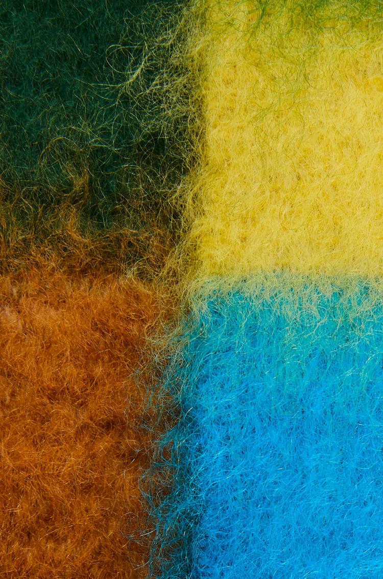 LOEWE Bufanda en lana mohair con rayas Negro/Azul Oceano pdp_rd