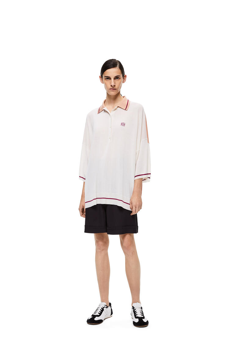 LOEWE Anagram embroidered polo collar sweater in cashmere Ecru/Violet pdp_rd