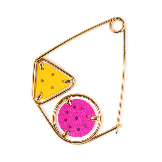LOEWE Small Double Meccano Pin lilac/yellow/gold front