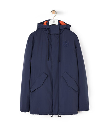 LOEWE Turtle Neck Jacket With Hoodie Navy Blue/Orange front