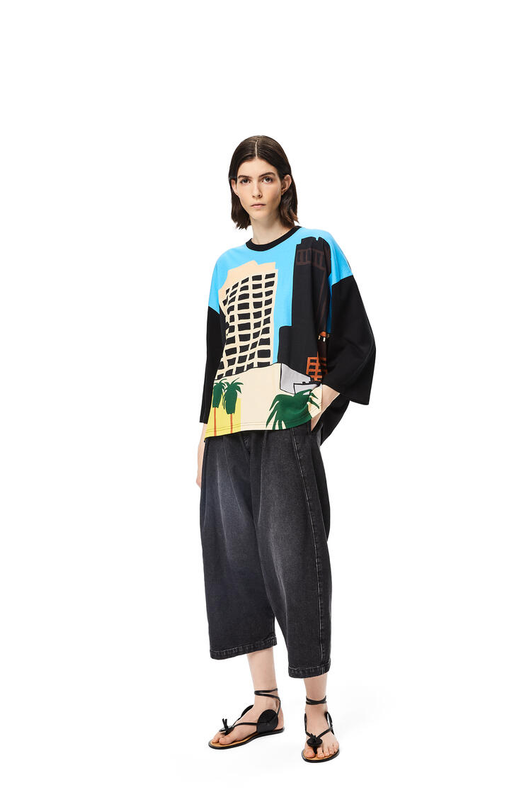LOEWE L.A. Series print t-shirt in cotton Black/Multicolor pdp_rd