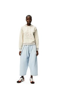 LOEWE High waisted cropped oversize jeans in denim Light Blue pdp_rd