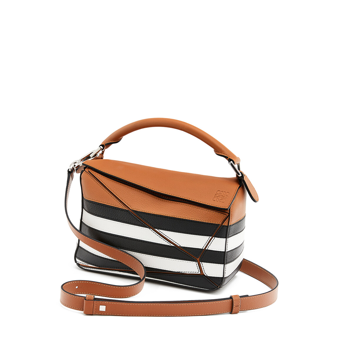 LOEWE Puzzle Marine Small Bag Black/White front