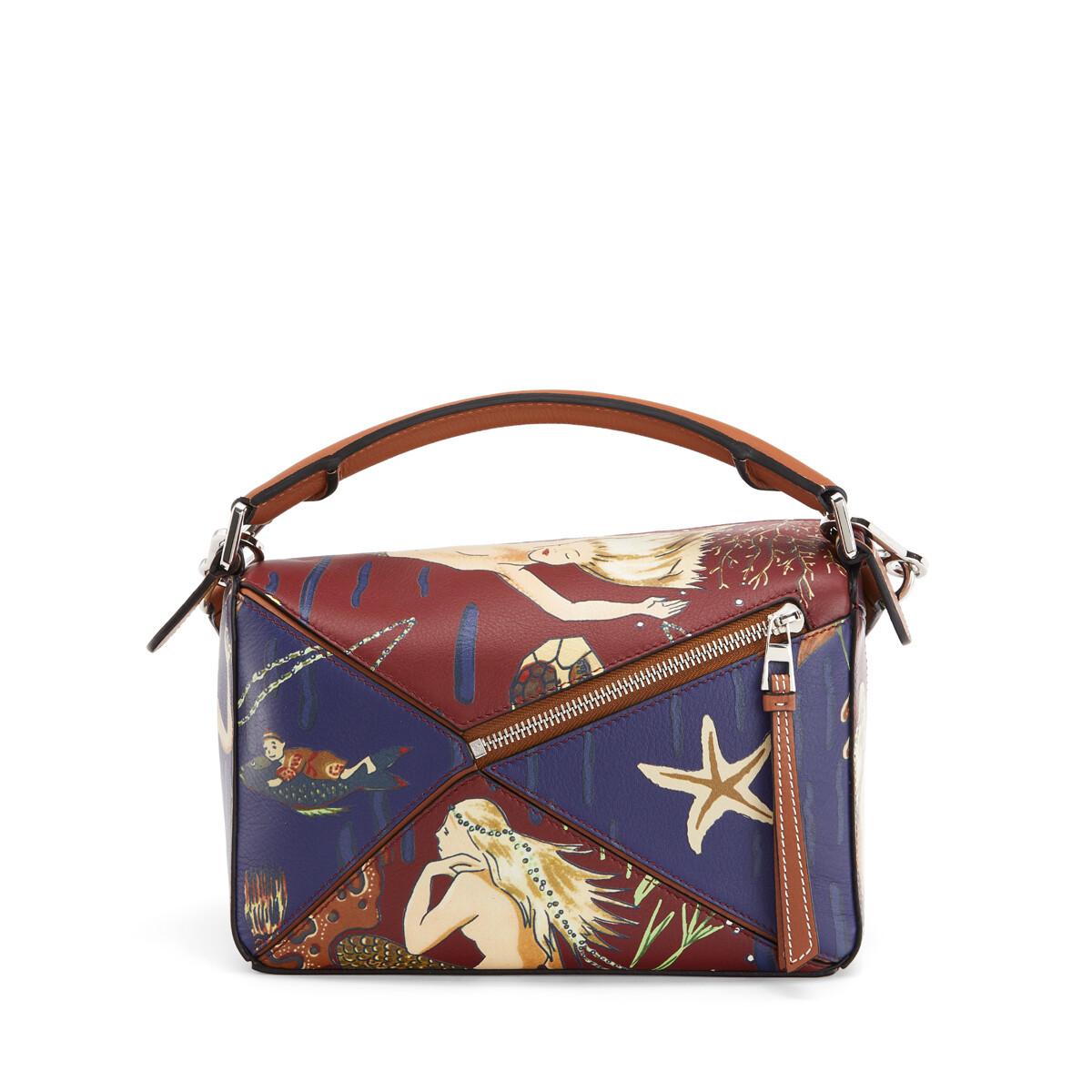 LOEWE Small Puzzle Bag In Mermaid Classic Calfskin Burgundy/Marine front