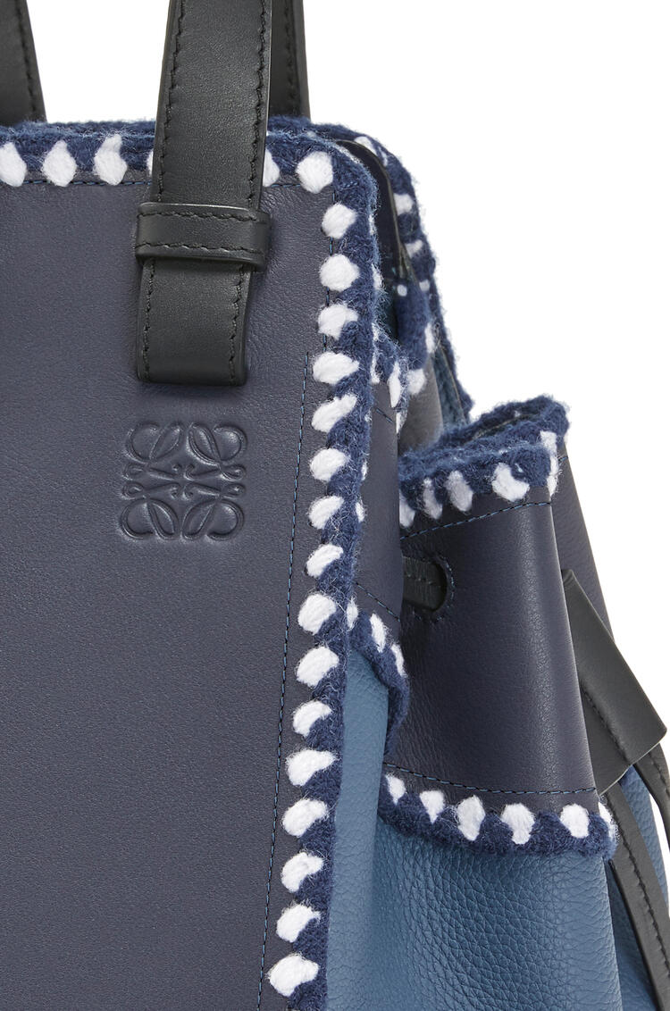 LOEWE Small Hammock Drawstring bag in knit and calfskin Midnight Blue/Varsity Blue pdp_rd