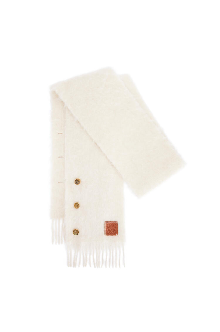 LOEWE Buttons scarf in mohair and wool Off-white pdp_rd