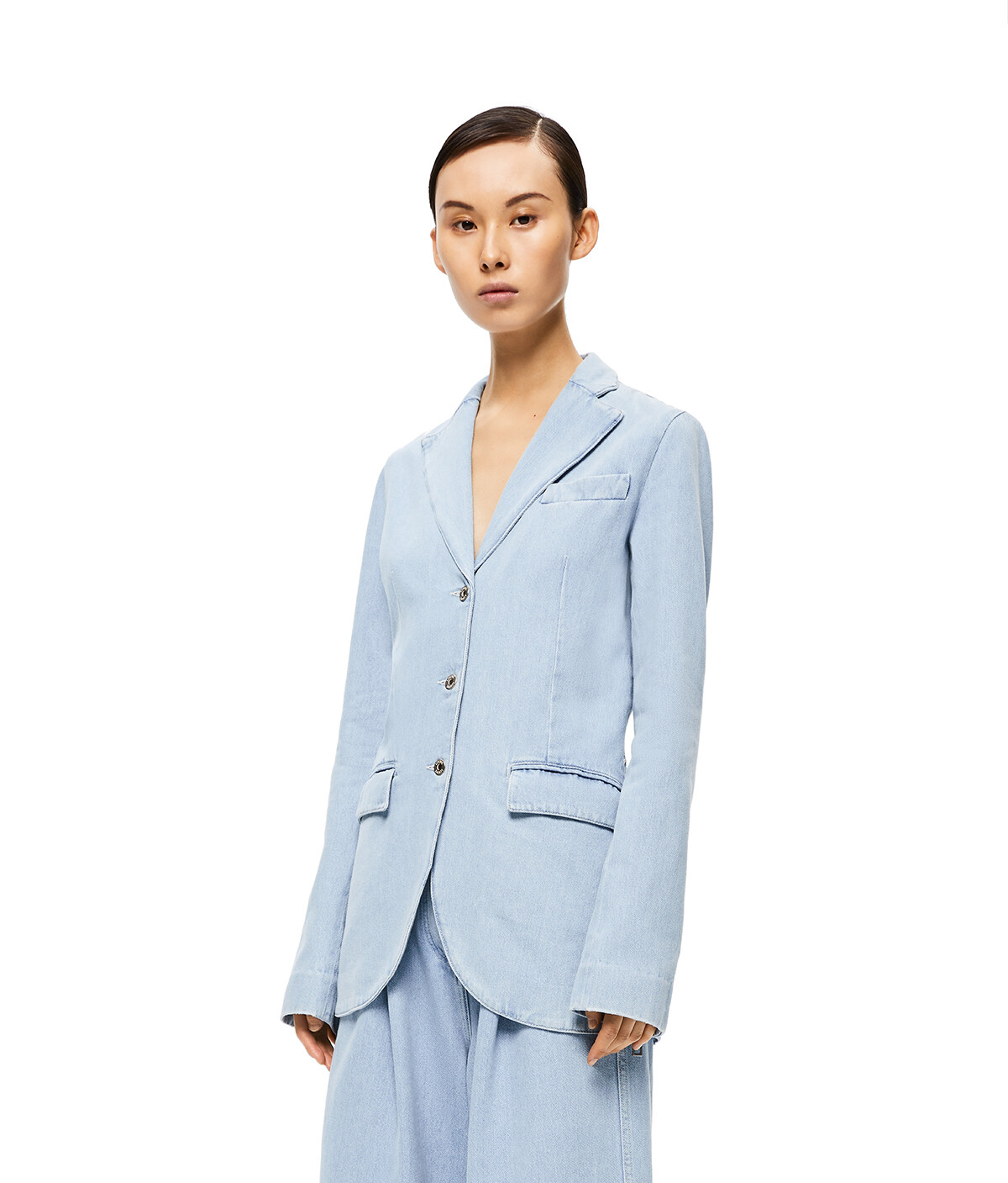 LOEWE Notch Lapel Denim Jacket Light Blue/White front