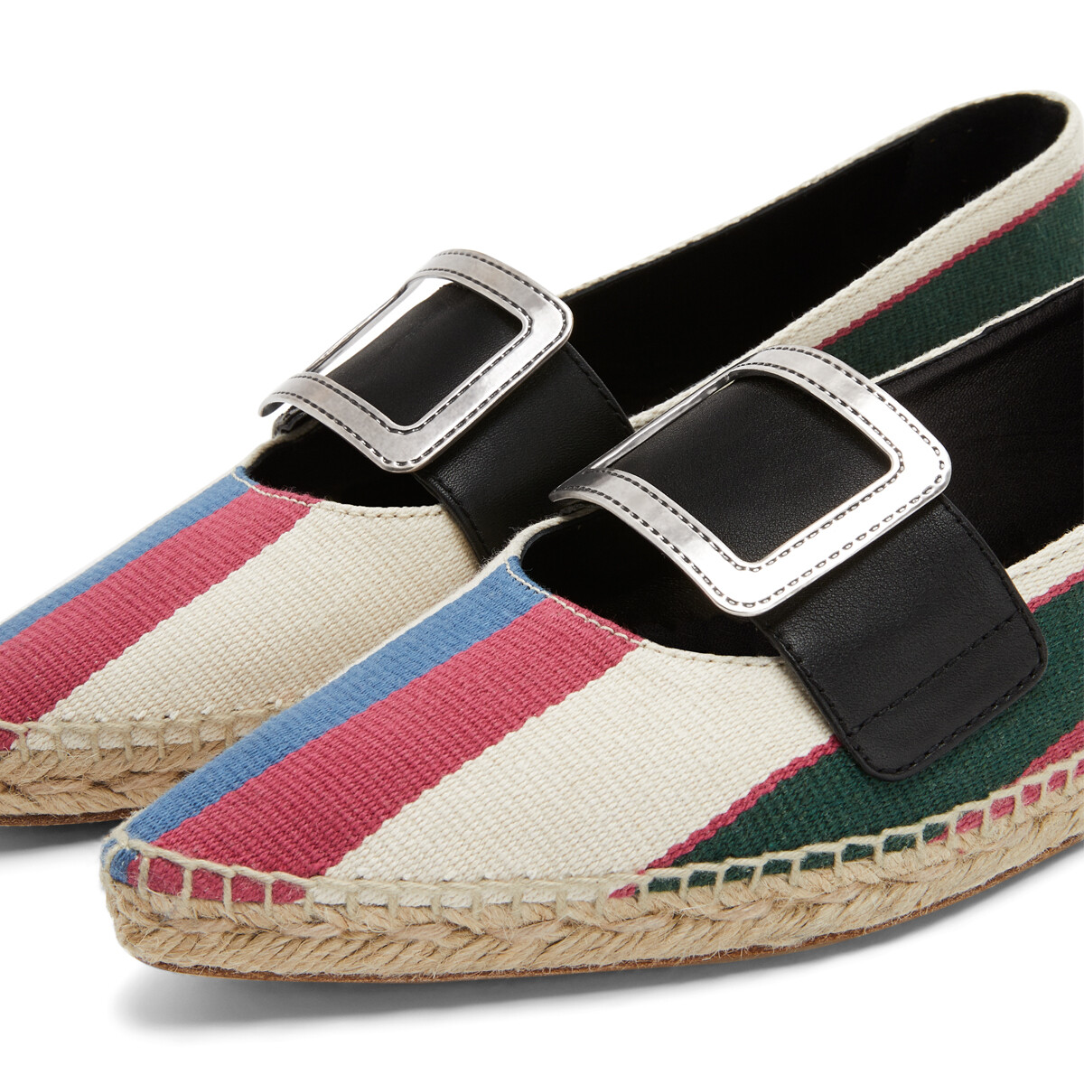 LOEWE Pointy Buckle  Espadrille Pink/Green/Light Blue front