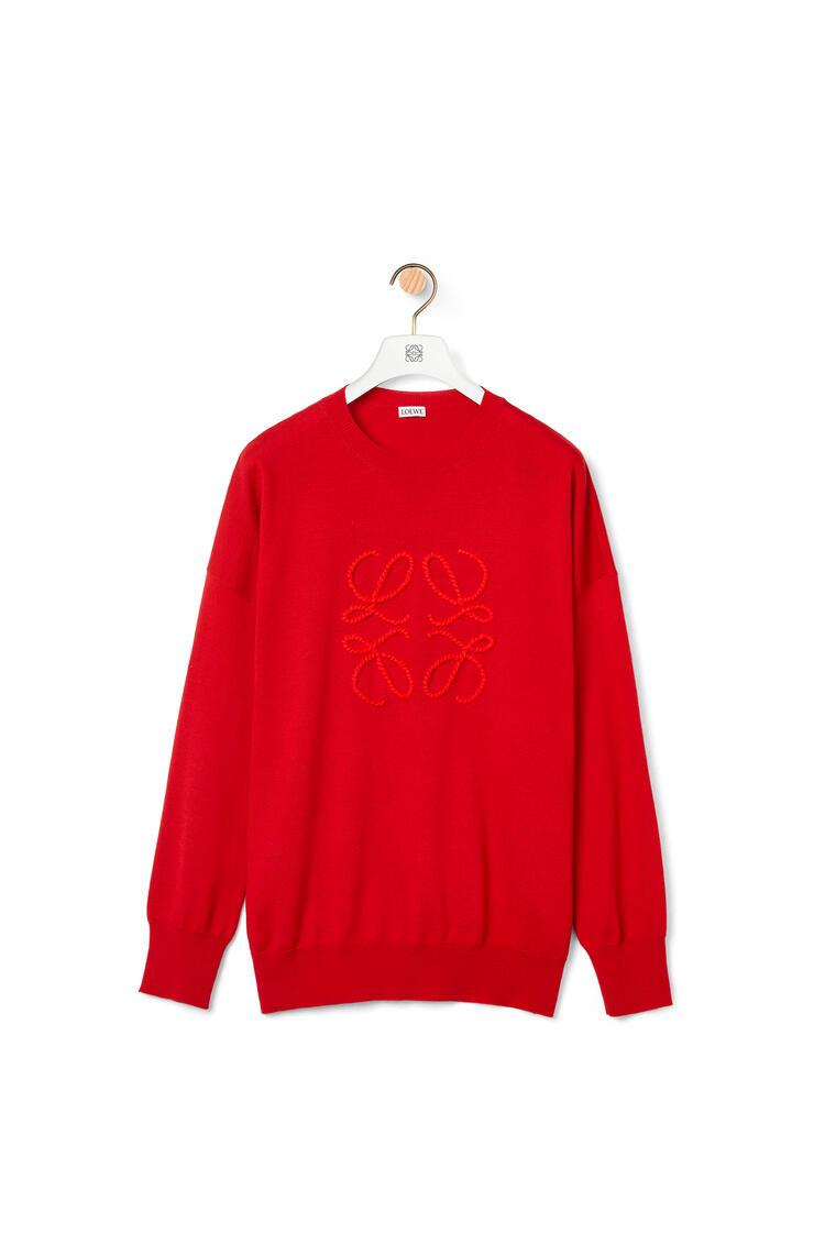 LOEWE Anagram stitch sweater in wool and cashmere Red Print pdp_rd