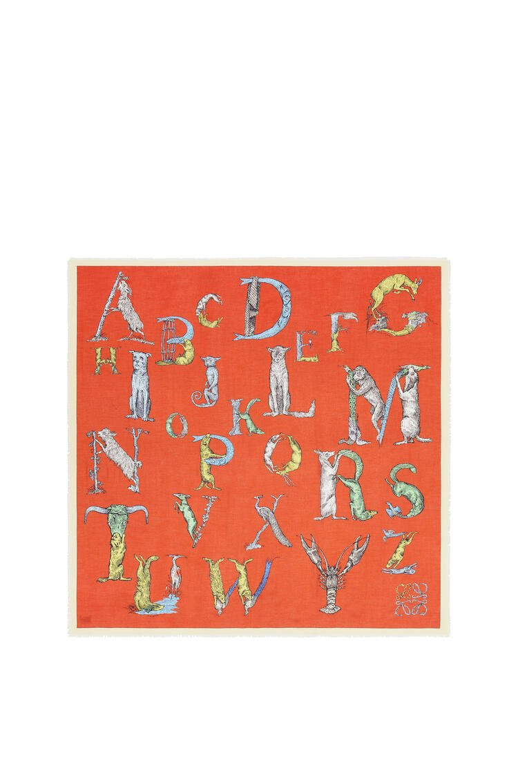 LOEWE Alphabet scarf in modal and cashmere Orange/Multicolor pdp_rd