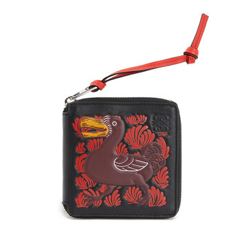 LOEWE Square Zip Wallet Animals ブラック/レッド front