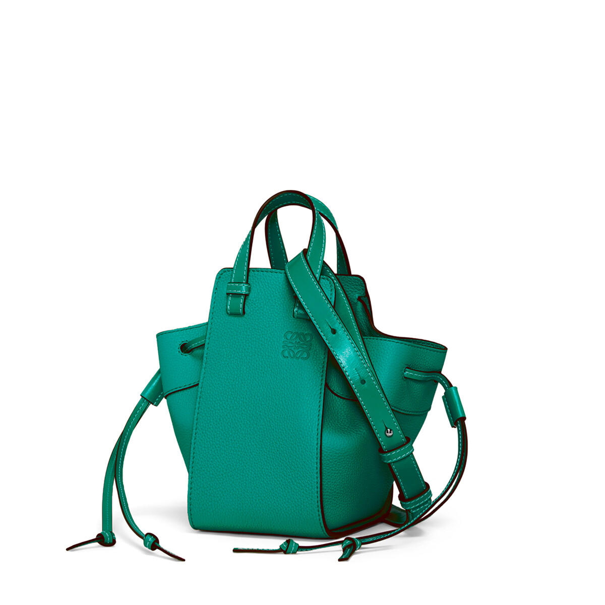 LOEWE Bolso Hammock Drawstring Mini Verde Esmeralda front