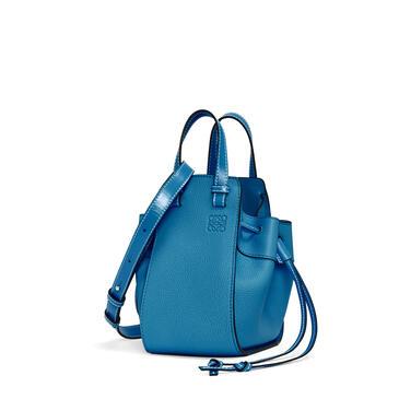 LOEWE Mini Hammock Drawstring bag in soft grained calfskin Dark Lagoon pdp_rd