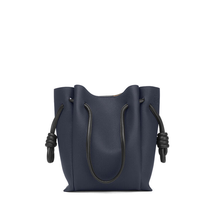 LOEWE Small Flamenco Tote bag in soft grained calfskin Midnight Blue/Black pdp_rd