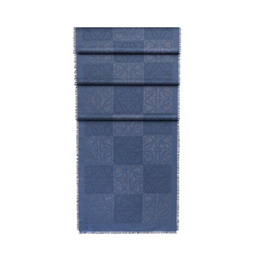 LOEWE 45X200 Scarf Damero Indigo Blue front