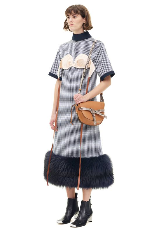 LOEWE Shearling Trim Bra Dress Marino/Blanco all