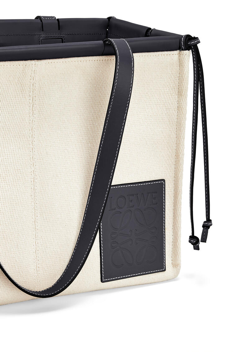 LOEWE Small Cushion Tote bag in canvas and calfskin Light Oat/Black pdp_rd