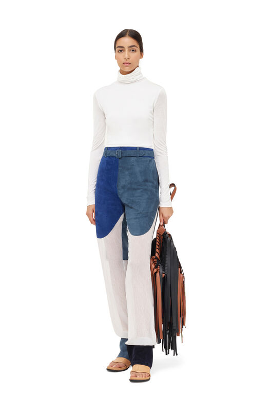 LOEWE Trousrs Suede Panels & Textile Blue/White front