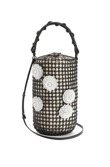 LOEWE Flower Bucket mesh bag in calfskin Black pdp_rd