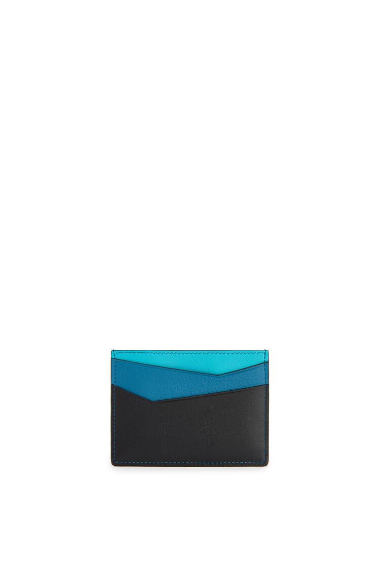 LOEWE Tarjetero liso Puzzle en piel de ternera clásica Azul Laguna Oscuro/Negro pdp_rd