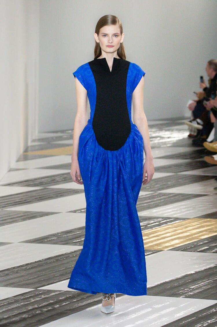 LOEWE Flower jacquard bib dress in cotton and silk Blue/Black pdp_rd