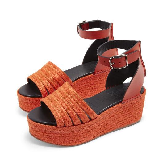LOEWE Wedge Cord Sandal Red front